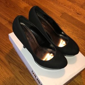 Unlisted Black Suede and Patent Leather Heels 7M